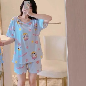 Solid Cute Pattern Short Sleeve Comfortable Two Piece Pajama Suit - Blue Ash