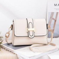 Magnetic Closure Synthetic Leather Messenger Bags - White