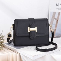 Magnetic Closure Synthetic Leather Messenger Bags - Black
