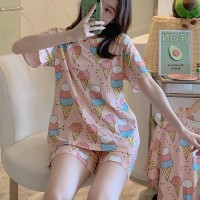 Solid Cute Pattern Short Sleeve Comfortable Two Piece Pajama Suit - Light Pink
