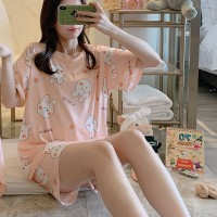 Solid Cute Pattern Short Sleeve Comfortable Two Piece Pajama Suit - White Pink