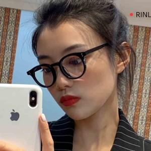 Anti Computer Blue Light Round Lens Glasses - Black