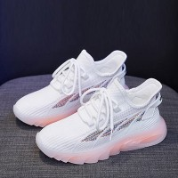 Breathable Lace Closure Rubber Sole Gym Sneakers - White