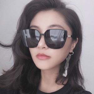 Fashion Cat Eye Oversized Big Frame Sunglasses - Black Gray