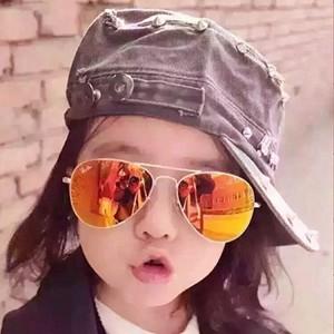 Vintage Unisex Round Kids Metal Frame Sunglasses - Pink Gold