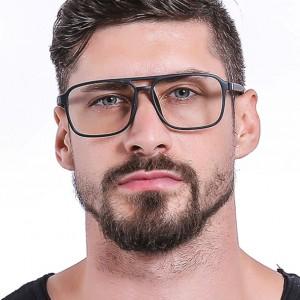 Double Beam Square Trend Flat Lens Glasses - Black