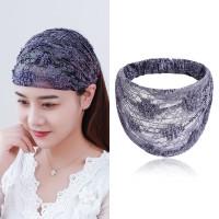 Solid Color Lace Fabric Women Headband - Light Gray