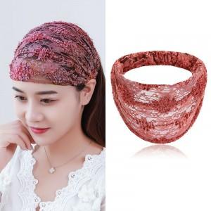 Solid Color Lace Fabric Women Headband - Orange