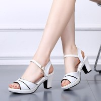 Buckle Closure Women Fashion Party Wear Sandals - White