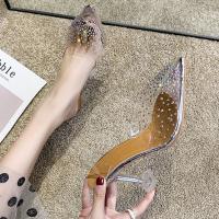 Sequins Decorative Pointed Transparent Goblet Heel Sandals - Silver