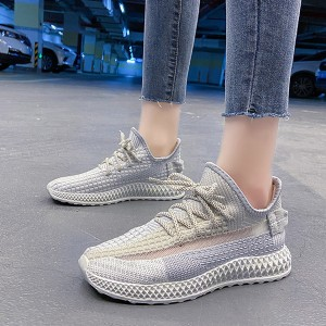 Breathable Lace Closure Rubber Sole Gym Sneakers - Beige
