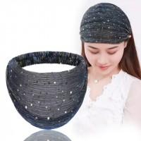 Wide Sequins Lace Fabric Women Headband - Blue