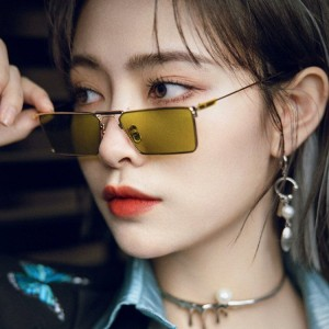 Metal Frame Square Small Sunglasses - Green