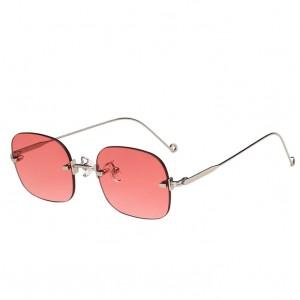 Rimless Metal Thin Shades Sunglasses - Pink