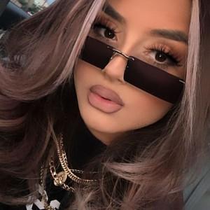 Frameless Slim Lens Personality Square Sunglasses - Dark Brown