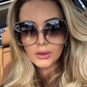 Large Frame Beauty Eye Women Fashion Sunglasses - Gray