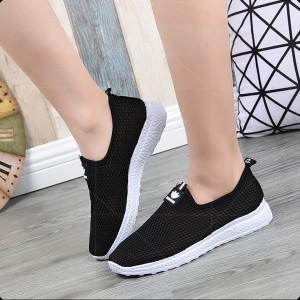 Mesh Breathable Flat Sportswear Casual Sneakers - Black