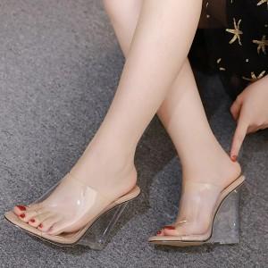 Transparent Wedge Style Party Wear Heel For Women - Beige