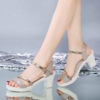 Buckle Closure Glitter Thick Heel Party Sandals - Golden