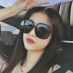 Square Shape Large Frame Beauty Face Sunglasses - Dark Gray