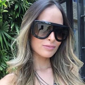 Oversized Outdoor Goggles Vintage Big Sunglasses - Black Gray