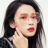 New Ocean Slice Polygonal Trimmed Sunglasses - Pink