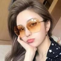 New Ocean Slice Polygonal Trimmed Sunglasses - Brown