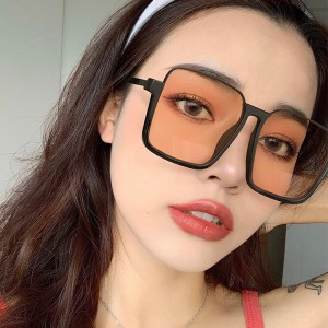 Fashion Luxury Oversize Retro Square Half Frame Sunglasses - Black