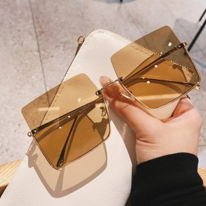 Metal Trimming Half Frame Square Shape Sunglasses - Brown