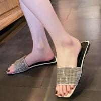 Glittery Flat Party Wear Elegant Slippers - White