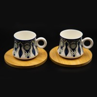 2 Pcs Porcelain Cappuccino Cups with Saucers