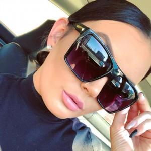 Oversized Square Frame Trendy Shade Sunglasses - Black Gary