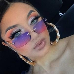 Fashion Luxury Square Metal Leg Vintage Rimless Sun Glasses - Purple Pink