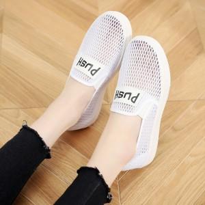 Hollow Flat Wear Sports Shoes - White