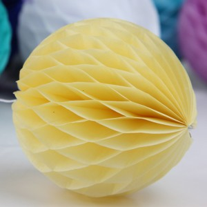 5 Pieces Pack Home Party Decoration Honeycomb Paper Ball - Yellow