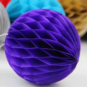 5 Pieces Pack Home Party Decoration Honeycomb Paper Ball - Dark Purple