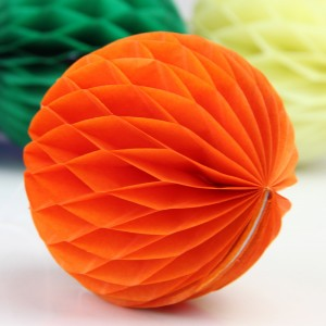 5 Pieces Pack Home Party Decoration Honeycomb Paper Ball - Orange