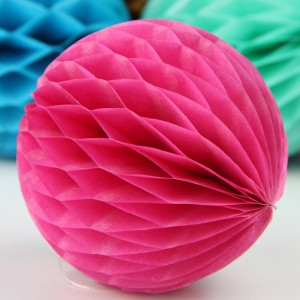 5 Pieces Pack Home Party Decoration Honeycomb Paper Ball - Rose