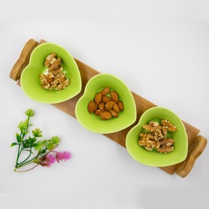 Bamboo Tray with 3 Heart Shaped Bowls For Appetizers