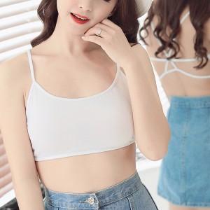Bra Base Spaghetti Back Women Casual Wear Cotton Fabric Top - White
