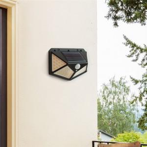 Solar Sensor 100 LED Outdoor Wall Light Lamp - Black