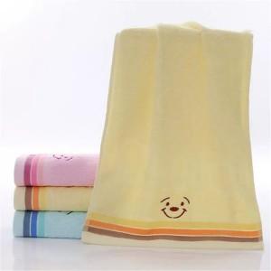 Soft Cotton Striped Face Bath Mini Towel One Piece - Yellow