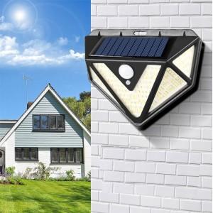 Solar Sensor 166 LED Outdoor Wall Light Lamp - Black