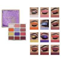 12 Colors Long Lasting Waterproof Shiny Glitter Eyeshadow - Purple