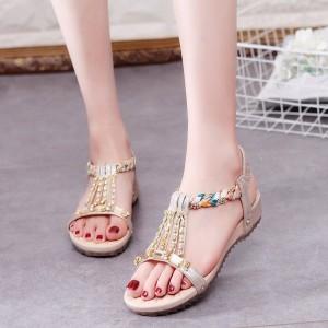 Slip Over Elastic Closure Flat Wear Sandals - Golden