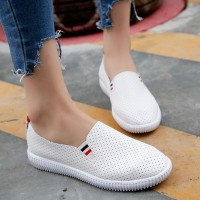 Breathable Hollow Flat Wear Sports Shoes - White