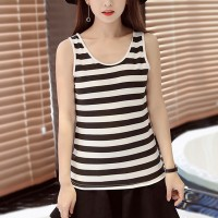 Women Casual Wear Cotton Fabric Top - Black And White