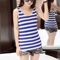Women Casual Wear Cotton Fabric Top - Blue White