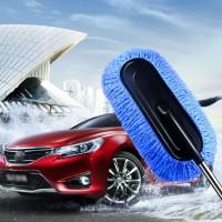Adjustable Long Handle Large Size Car Cleaning Soft Fiber Mop - Blue