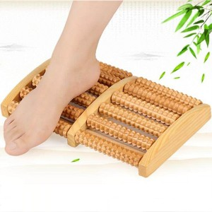 Wooden Household Foot Massager Roller - Apricot